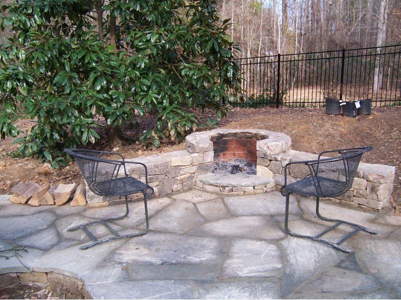 stone landscape firepit