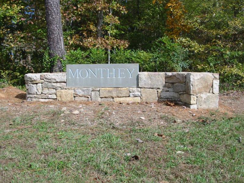 stone wall landscape signage